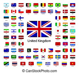 Set of glossy icons of flags of world sovereign states on white