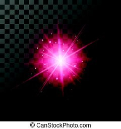 Sunny red glow lighting effect. - Star burst with red...