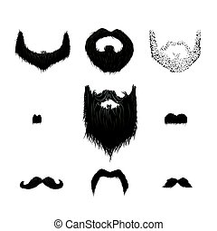 Set of detailed black mustaches and beards on white - Set of...