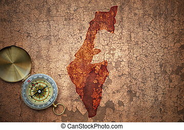 map of israel on a old vintage crack paper background with...