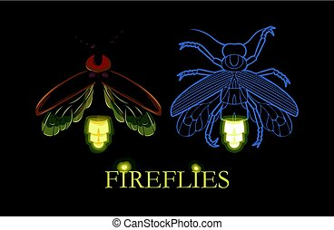 Illustration of glowing firefly - Vector illustration of...