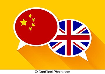 Two white speech bubbles with China and Great britain flags