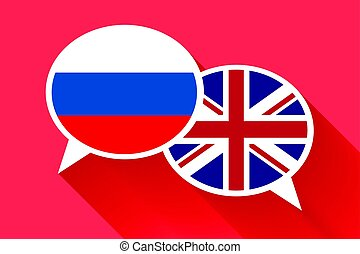 Two white speech bubbles with Russia and Great britain flags
