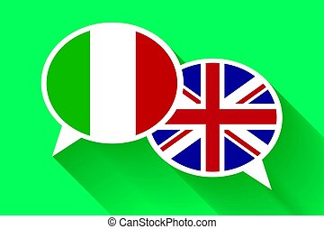 Two white speech bubbles with Italian and Great britain flags