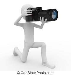 3D, hombre, DSLR, cámara