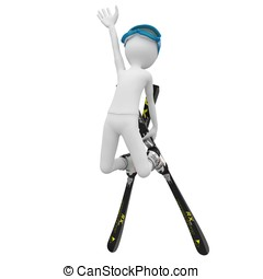 3d man skiing down a slope isolated on white