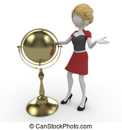 3d girl with golden globe