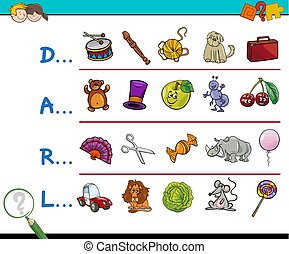 find picture educational game - Cartoon Illustration of...