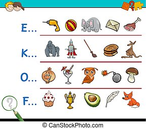 find picture educational activity - Cartoon Illustration of...