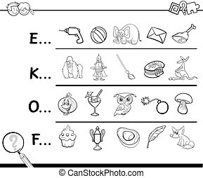 find picture coloring page - Cartoon Illustration of Finding...