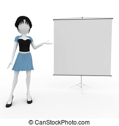 3d girl presenting with blank board isolated on white