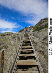Pootpath stairs in mountains on the way to Nigardsbreen...