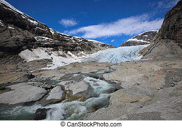 Nigardsbreen glacier, Norway - Nigardsbreen glacier in...