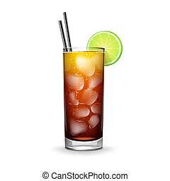 Cuba Libre cocktail - Vector Cuba Libre cocktail with rum,...