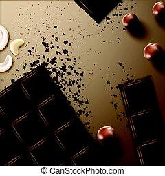 Chocolate bar with nuts - Vector broken dark bitter...