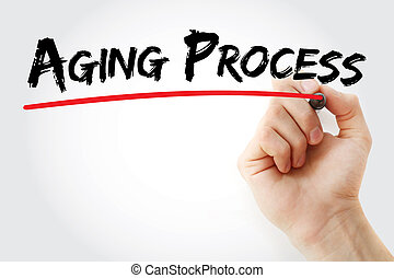 Hand writing Aging process with marker, concept background