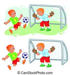 Vector illustration of two little boys playing soccer....