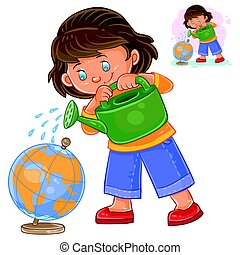 Vector illustration of a little girl watering a globe from a...