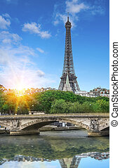 Eiffel tower, Paris. France. View of the Eiffel Tower and...