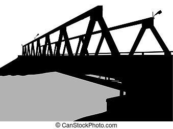 Modern metal bridge two - Modern metal bridge on a white...