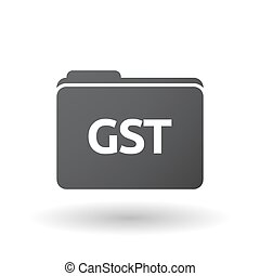 Isolated folder signal with  the Goods and Service Tax acronym GST