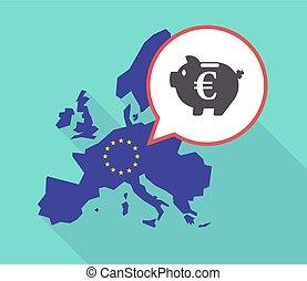 Long shadow EU map with an euro coin in a piggy bank...