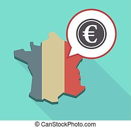 Long shadow France map with an euro coin - Illustration of a...