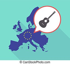 Long shadow EU map with a six string acoustic guitar -...