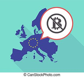 Long shadow EU map with a bitcoin sign in a not allowed...