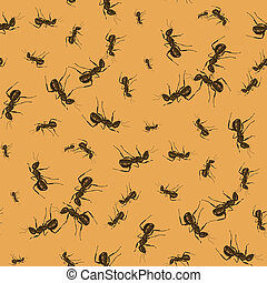 Ant Seamless Pattern on Orange Background. Insect Texture