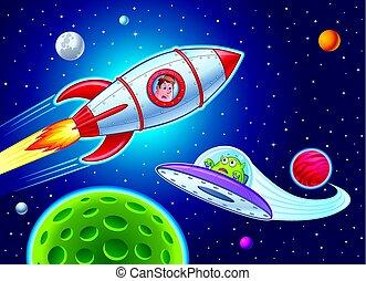 Kid In Rocketship Sees alien - Cartoon of a boy in a...