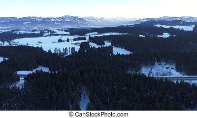 Flight over winter landscpar