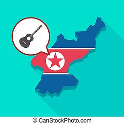 North Korea map with a six string acoustic guitar -...