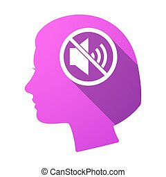 Isolated female head with a speaker in a not allowed signal...