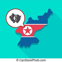 North Korea map with an euro coin in a piggy bank moneybox -...