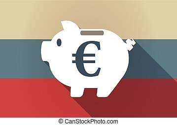 ong shadow Russia flag with  an euro coin in a piggy bank moneybox