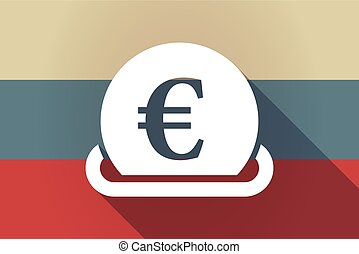 ong shadow Russia flag with  an euro coin entering in a moneybox