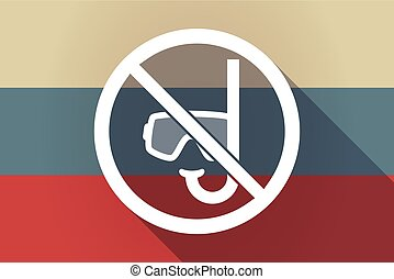 ong shadow Russia flag with  a diving glasses and a snorkel  in a not allowed signal