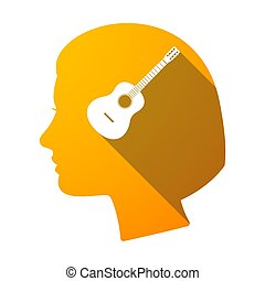 Isolated female head with a six string acoustic guitar -...