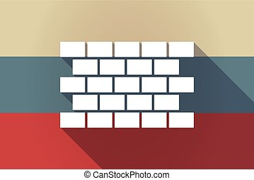 ong shadow Russia flag with  a brick wall