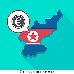 North Korea map with an euro coin - Illustration of a long...