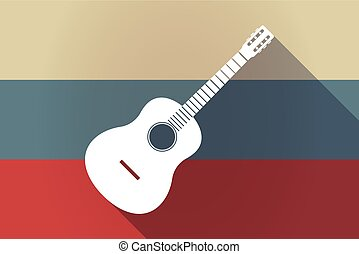 ong shadow Russia flag with a six string acoustic guitar -...