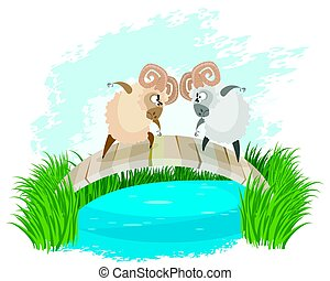 Two rams on bridge - Vector illustration of a two rams on...