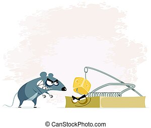 Rat and mousetrap - Vector illustration of a rat and...