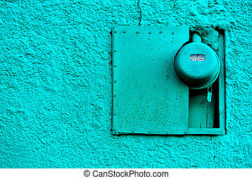 blue wall with electric meter