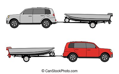 Boat trailer and Car