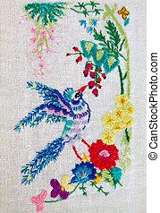 embroidered bird - embroidered satin stitch bird with...