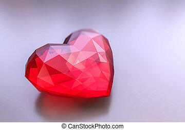 heart stone - 3d illustration of an heart stone isolated