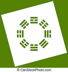 Bagua sign. Vector. White icon obtained as a result of...