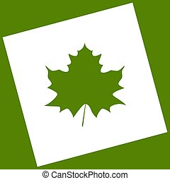 Maple leaf sign. Vector. White icon obtained as a result of subtraction rotated square and path. Avocado background.